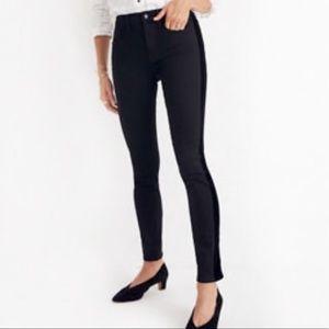 Madewell Black Velvet Striped 9in High Rise Jeans